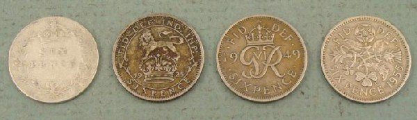 4 Great Britain 6 Pence Coins Some Silver 1901-1955