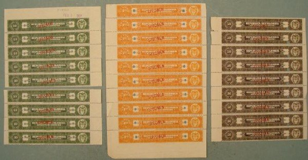 28 Colombia Specimen Tax Stamps Plate Blocks Cent,Pesos