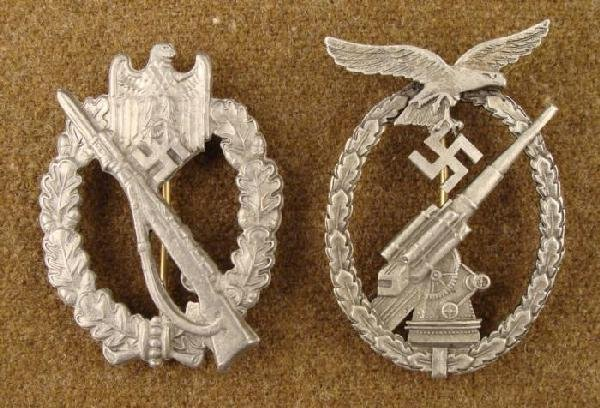 2 Nazi Replica Badges Rifle, Anti Aircraft Gunner