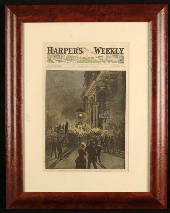 Harpers Cover 1884 Chicago Republican Convention Framed