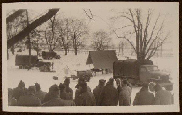 US B & W Photograph GI Winter Encampment Photo