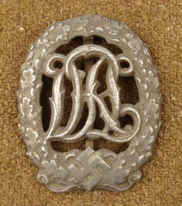 WWII Nazi SA Sports Badge w/ Initials Silver Pin DRGM