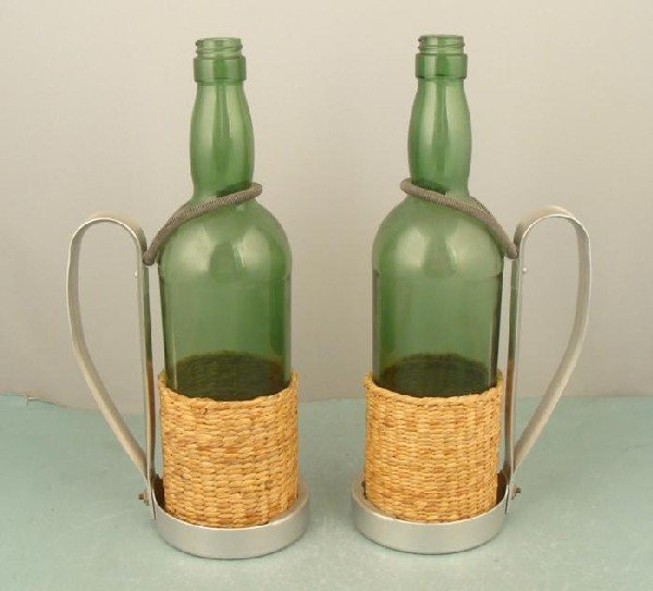 Pair of Green Glass Wine Bottles w/ Holders Italy