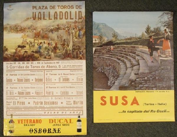 2 Vintage Posters Susa Italy Bullfighting Ducal Spain