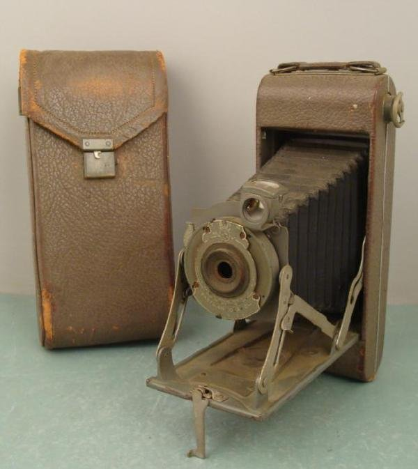 Kodak 1A 1910s WWI Olive Green Med Format Pocket Camera
