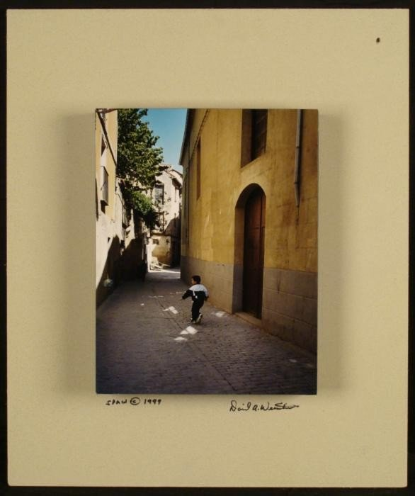 Spain Street w/ Boy Orig 3-D Photograph David Weinstein