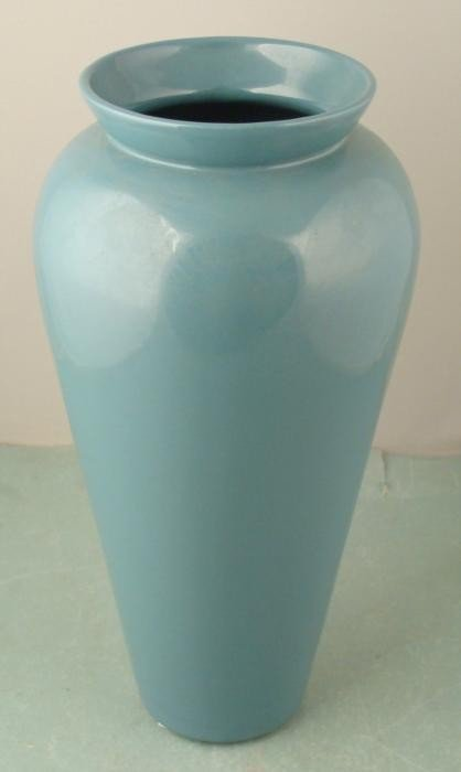 Large Haeger Pottery Teal Blue Vase 1980s Decor