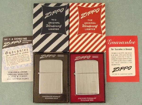 2 Vintage Zippo Lighters MIB #350, Engine Turned