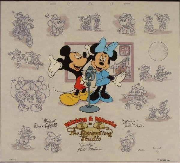 Disney Mickey Minnie Sericel Animation Art Voice Signed