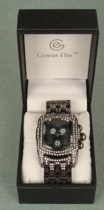 Geneva Elite Mens Floating Faux Diamonds Chrono Watch