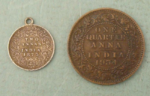 British India 2 Coins 1875 Annas Silver 1934 1/4 Anna