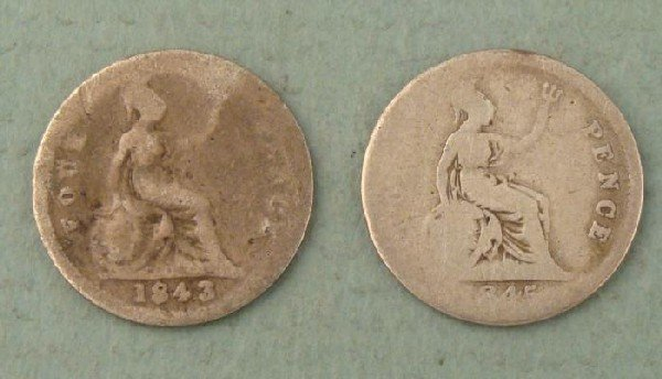 2 Great Britain 4 Pence Silver Coins, 1843 1845