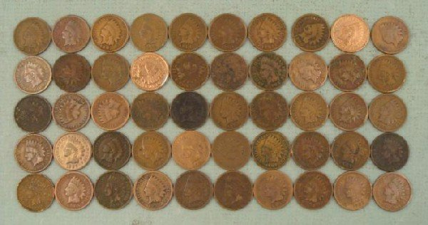 1 Roll Mixed Date Indian Head Pennies Cents 1901-1907