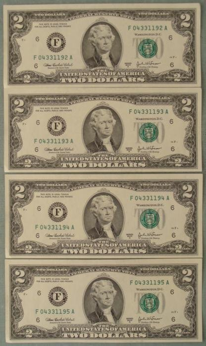 4 Consec # 2003A $2 Notes F Mint Bills Atlanta CU