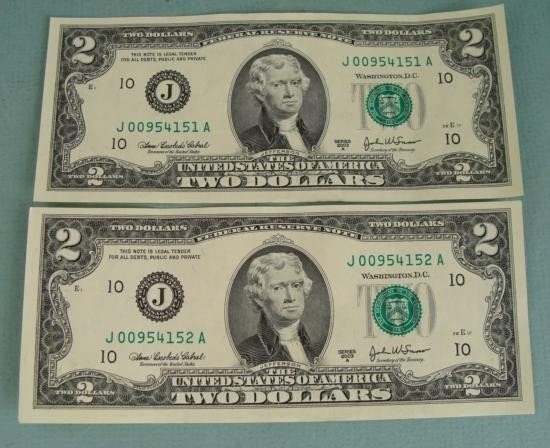 2 Consec # CU 2003 A $2 Bills Notes J Mint Kansas City