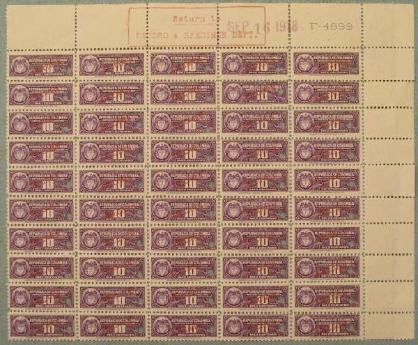 50 Colombia Specimen Revenue Stamps Plate Block 10 Cent