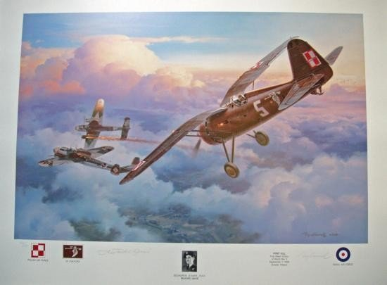Aviation Art First Kill Roy Grinnell WWII autographed
