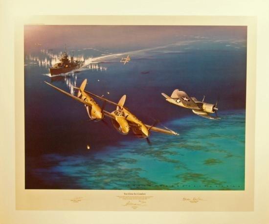 Aviation Art Too Close for Comfort Fellows P-38 Corsair