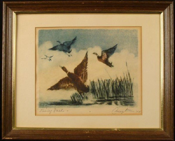 Pierre Nuyttens Orig Signed Framed Etching Rising Ducks