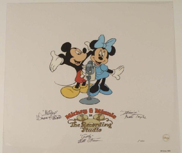 Disney Sericel Animation Art Mickey Minnie Voice Signed