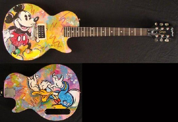 Duerrstein Orig Painted Mickey Mouse Donald Duck Guitar
