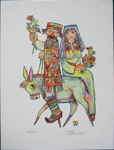 Obican TAKING THE BRIDE Signed LE Colorful Folklore Art