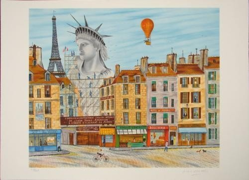 Dan Gandre Naif Naive Paris Scene STATUE OF LIBERTY Art