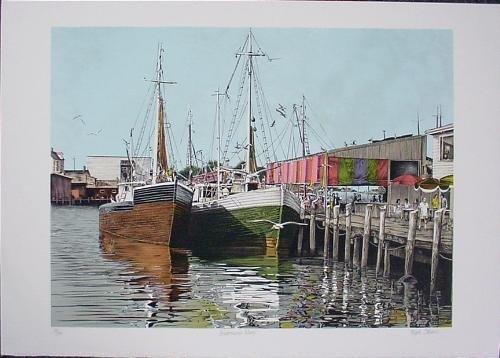 FISHERMANS WHARF Signed Marine Art Print Mark Stevens
