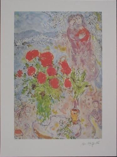 After Chagall RED BOUQUET WITH LOVERS Floral Art Print