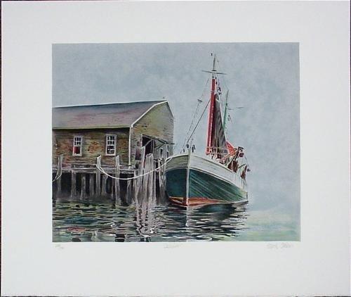 DOCKSIDE Signed LE Marine Art Print Litho Mark Stevens