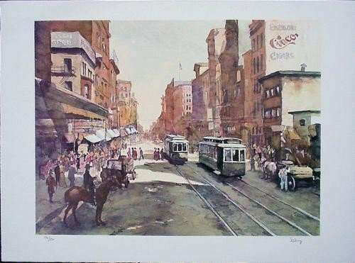 SAN FRANCISCO Street Scene Signed Schrag LE Art Print