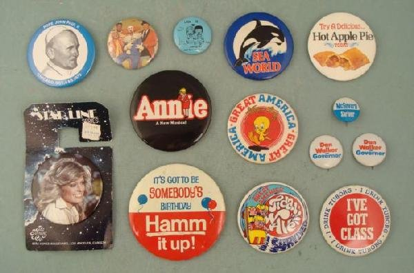 14 Vintage Pin Collection Bozo Pope Theme Park Beer