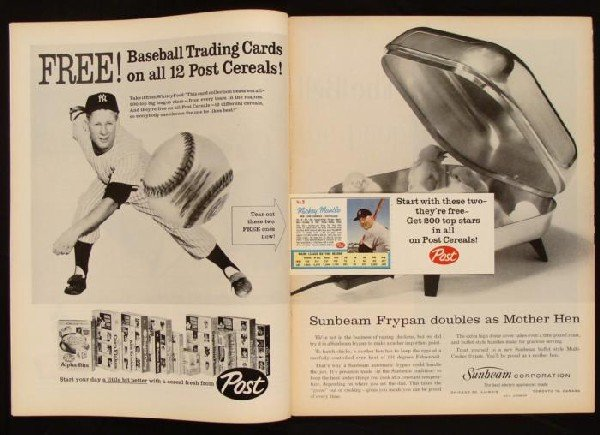 LIFE Magazine 1962 w/Post Baseball Cards Mantle, Maris