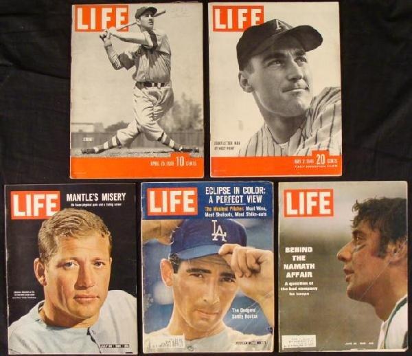5 LIFE Magazines Sports Issues Baseball, Football