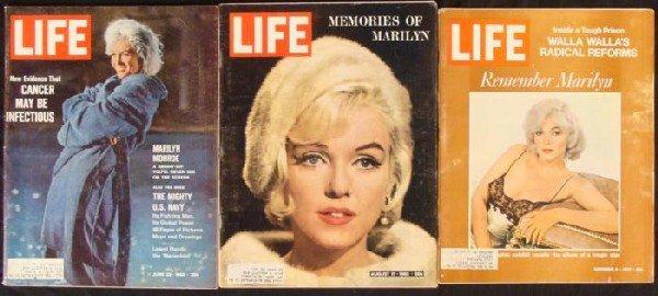 3 LIFE Magazines w/ Marilyn Monroe 1962, 1972