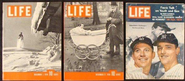 3 LIFE Magazines Dec 7,21 1936 Mantle Maris Aug 18 1961