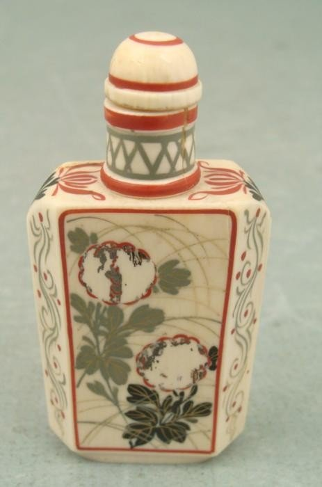 Antique Chinese Snuff Bottle Hand Painted Bone