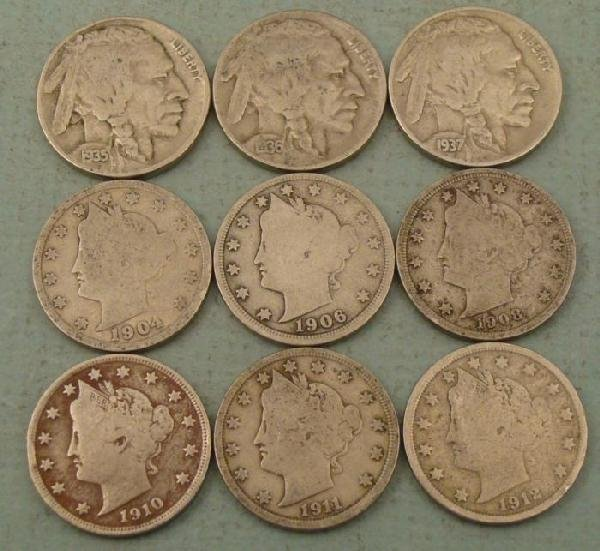 9 Diff Full Date Liberty & Buffalo Nickels