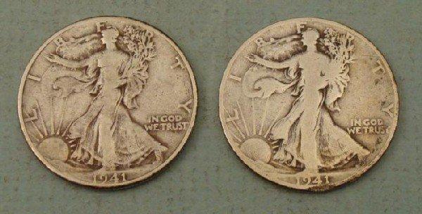 2 Silver Walking Liberty Halves 1941, 1941 D
