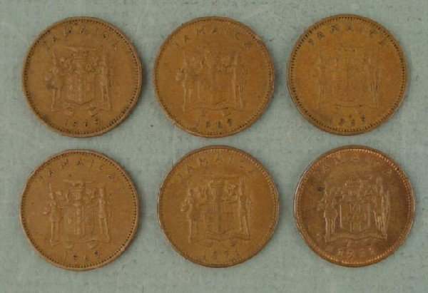 1 Lot (6) Jamaica One Cent Coins 1969, 1971