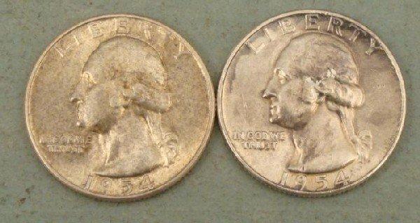 2 UNC 1954 Washington Quarters