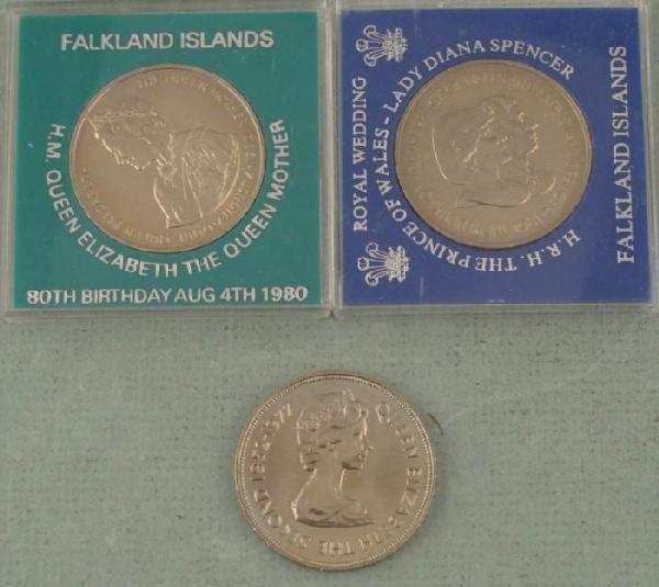 3 Falkland Island BU 50 Pence Large Commemorative Coins