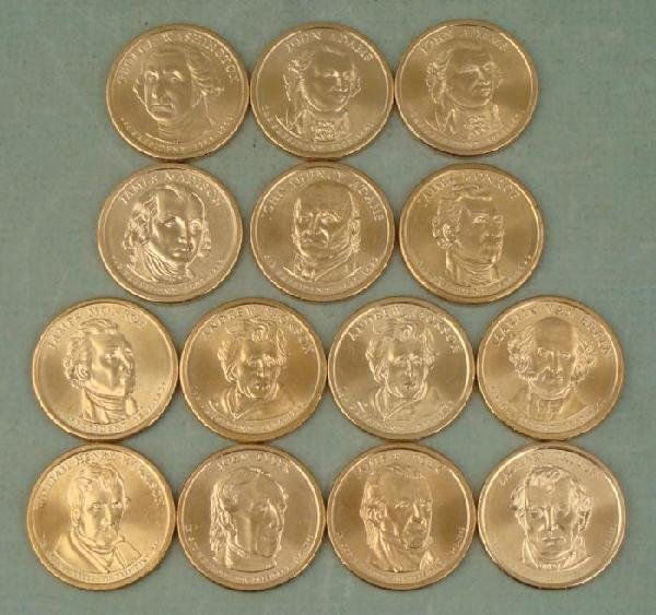 14 Diff Presidential Dollars Coins 2007-09 GEM UNC
