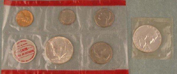 6 GEM UNC Coins Mint Set Sealed 1968D + 1961 Half