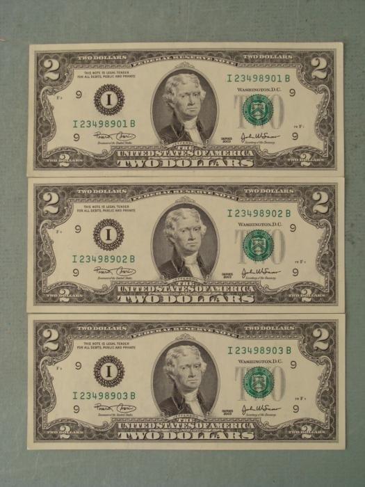 3 Consec # 2003 $2 Notes I Mint Minneapolis Bills CU