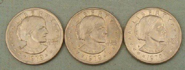 3 UNC Susan B. Anthony Dollars 1979-P, D, S