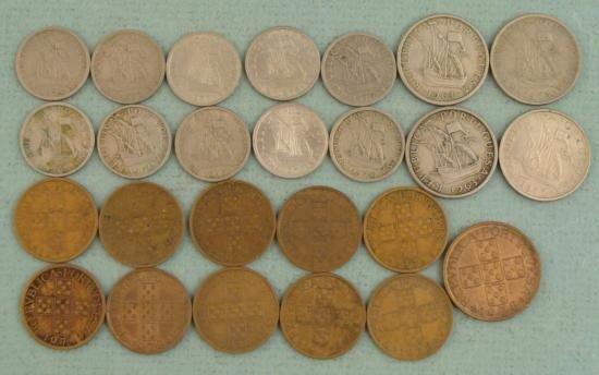 25 Portugal Coins 20, 50 Centavos, 1-5 Escudo 1963-