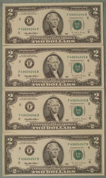4 Consec # 1995 $2 Notes F Mint Atlanta Bills CU