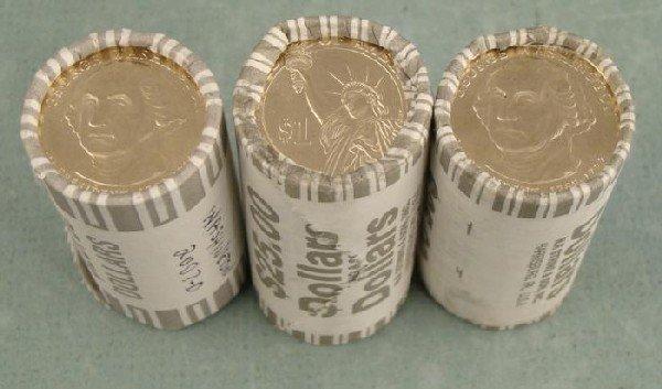 3 Wrapped Rolls 2007 D Washington Presidential Dollars