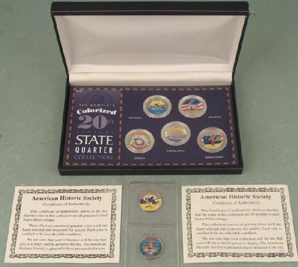 7 Colorized State Quarters Set In Box, Case